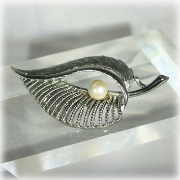 Silver Leaf Brooch, Coro Jewelry, Pearl Brooch Pin, Mid Century Modern, MCM, Open Work Brooch