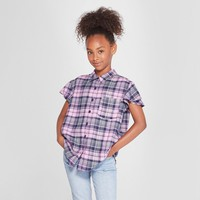 Girls' Plaid Button-Down Shirt - art class™ Purple