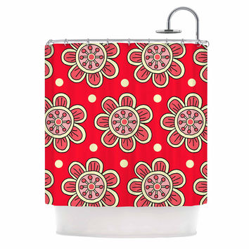 "Sarah Oelerich ""Scarlet Flowers"" Red Floral Shower Curtain"