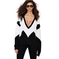 Black And White Deep V-Neck Long Sleeves Loose Sweater