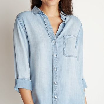Bella Dahl Shirt Tail Button Down Light Mist Wash