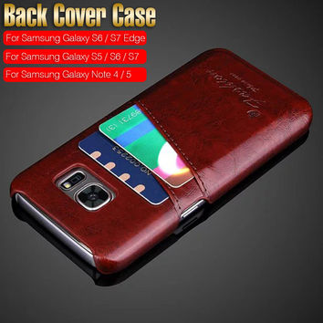 PU Leather Skin Back Hard Case Cover for Samsung Galaxy Note 5 4 S7 S6 S5 S7 Edge S6 Edge Card Holder Vintage Style Phone Cases