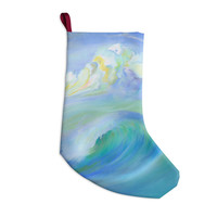 "Theresa Giolzetti ""Jelly Fish"" Blue Teal Christmas Stocking"