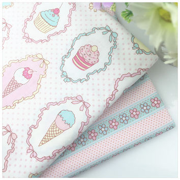 Icream Print Cotton Fabric Patchwork Tissue For Diy Needlework Sewing Craft Tilda Baby the Cloth Cushion Home Textile Material