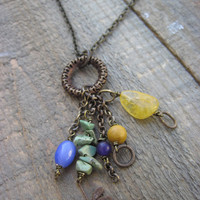 Dragonfly Brass necklace Amber and Citrine OOAK by CopperTreeArt