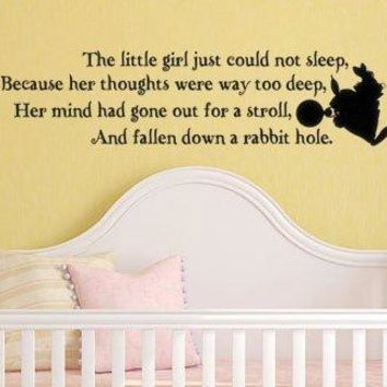 Alice In Wonderland Inspired Wall Decal Sticker The Little Girl Just Could Not Sleep Because Her Thoughts Were Way Too Deep