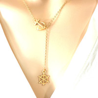 Anchor and wheel, Goldfilled, Sterling silver, Chain, Sailor, Anchor, Wheel, Necklace, Minimal, Modern, Simple, Cute, Gift, Necklace