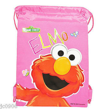 SESAME STREET ELMO PINK WITH BUTTERFLIES DRAWSTRING BAG BACKPACK TRAVEL-NEW