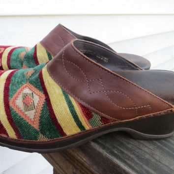 vintage Southwest Tapestry Modellista   iTALY  LEATHER  Clogs SZ 7 WOMENS