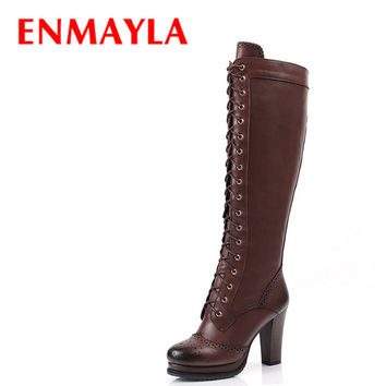 ENMAYLA Retro Brogue Shoes Women PlatformThigh High Boots Lace-up Knee High Knight Boots High Heel Women's Shoes Black Brown