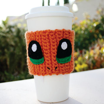 Charmander Inspired Coffee Travel Mug Cup Cozy: Pokemon -ish Japanese Cartoon Crochet Knit Sleeve