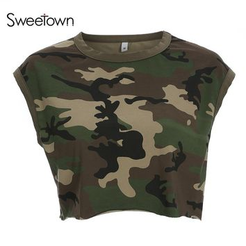 Sweetown 2018 New Women'S T-Shirt Casual Loose Camouflage T Shirt Women Tanks Vest Punk Rock Camo Tee Shirt Femme Streetwear