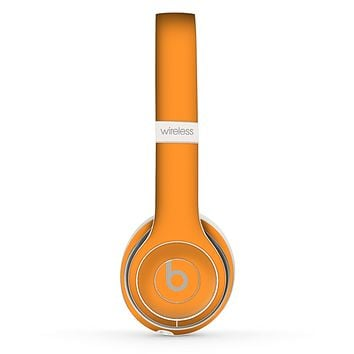 The Solid Orange Skin Set for the Beats by Dre Solo 2 Wireless Headphones