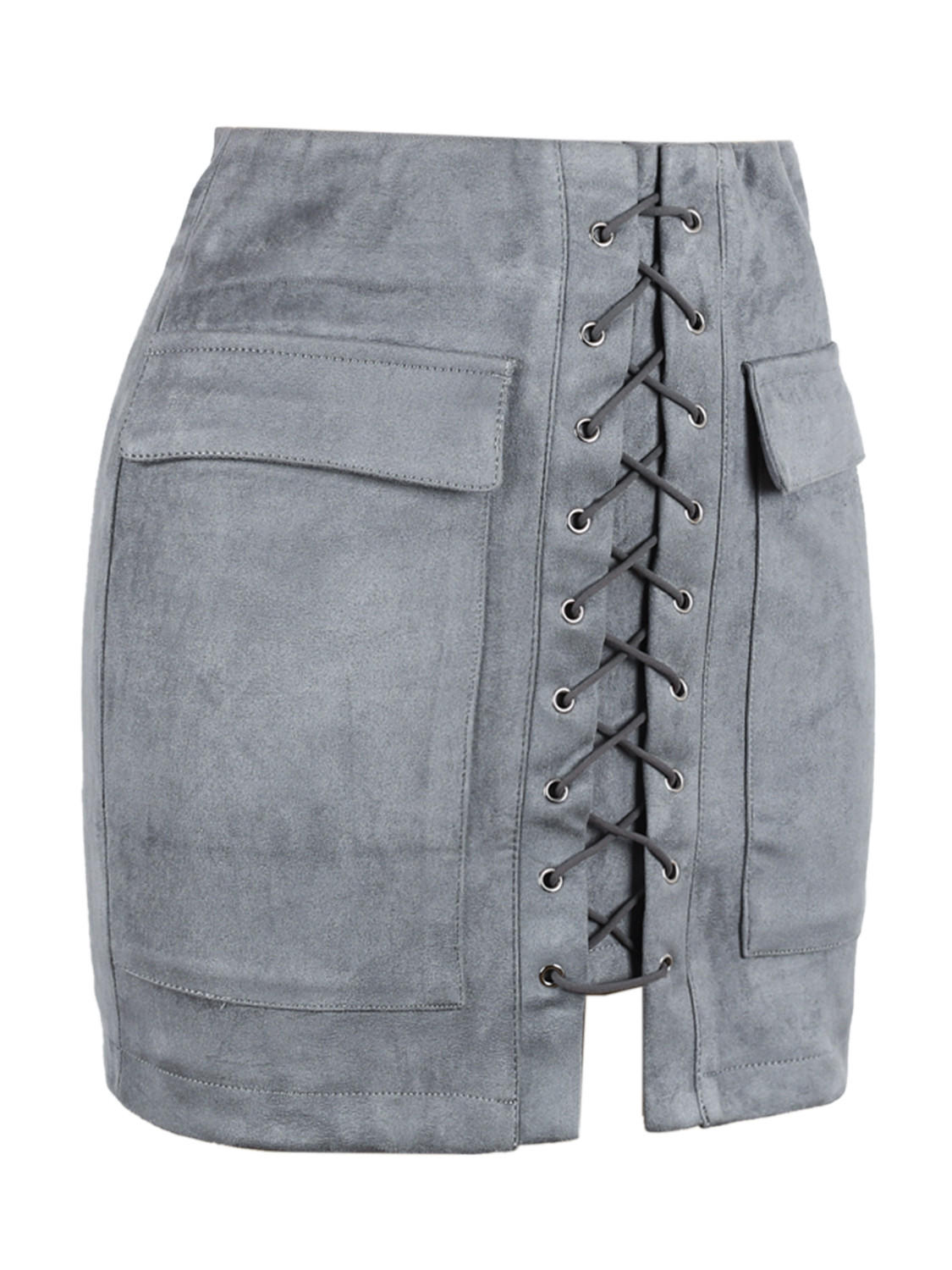 31fc31adb Grey Faux Suede Lace Up Front Pencil Mini from Midnight Bandit