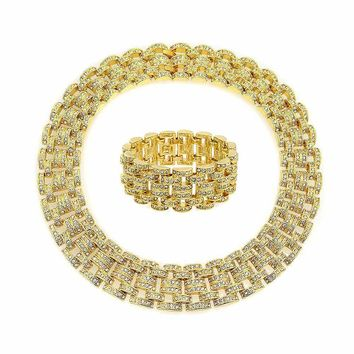 Fashion Wide Chain Link Gold Plate Crystal Statement Necklace Bracelet