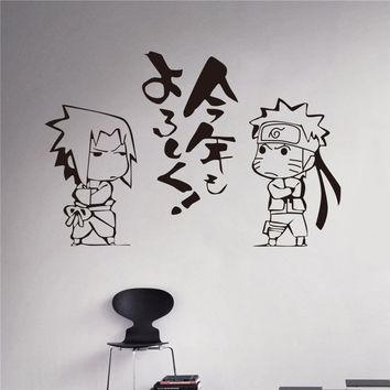 Naruto Sasauke ninja Japanese Cartoon  Vinyl Wall Sticker Anime Uzumaki Uchiha Sasuke Art Wall Decal Kids Room Bedroom Home Decoration AT_81_8