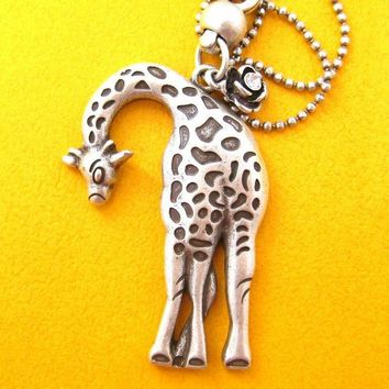 Giraffe Pendant Animal Necklace in Silver | Animal Jewelry