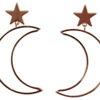Moonchild Crescent Moon and Star Earrings