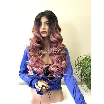 Pink Ombré Human Hair Blend Lace Front Wig -  Betsy