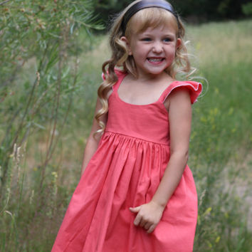 Country Dress - Coral girls Dress - Flutter Sleeves Dress - Hummingbird Dress -Toddler Dress -  Flower girl  Dress - Girls Birthday Dress