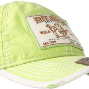 True Religion Men's Linen Patch Buddha Cap, Limeade, One Size