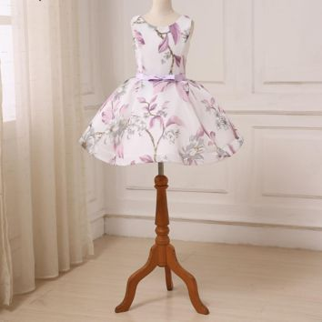 New Arrival Flower Girl Dresses Scoop Sleeveless Ball Gown Print Flowers Short Girl Wedding Party Dress Pageant Gowns