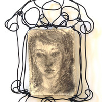 Wall Art - Ceramic - Girl portrait - Original Drawing on ceramic and wire frame - Hope