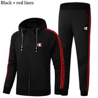 Champion winter sports suit men's casual running plus velvet warm two-piece Black+red lines