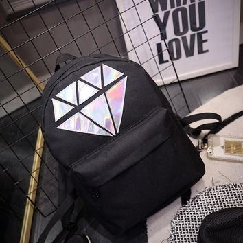 Holographic Silver Diamond Solid Women Canvas Backpack School Bags Teen Girls Unisex Female Men Laptop Travel Large Mochilas