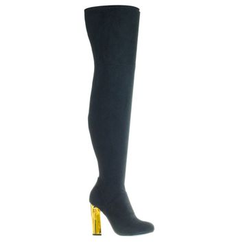 Scenery08 Black by Bamboo, Metal Block Heel OTK Over-The-Knee Thigh High Soft Boots