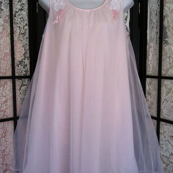"Vintage Shadowline Layered Chiffon Babydoll Lingerie Nightgown S Vintage Pink 36"" bust"