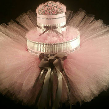 2 Tier Pink & Grey Princess DIAPER CAKE w/ silver tiara | tutu skirt | hair ties | jewelry decoration | feather scarf | cute | baby showers