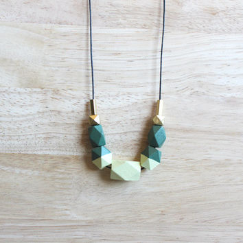 wooden geometric necklace // modern green dipped necklace for girls, women - minimalist everyday jewelry