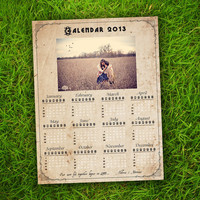 PRINTABLE 2013 Calendar - Vintage Rustic Customisable Couples / Family Calendar