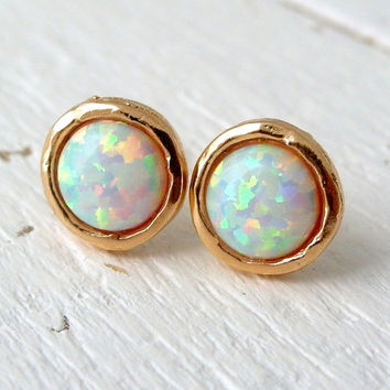 Opal earrings, White Opal stud earrings, Opal studs, fire Opal stud earrings, Gold or silver studs, October birthstone earring, opal stud