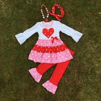 V-day outfits white top with red heart ruffle pants long sleeve with accessoriess