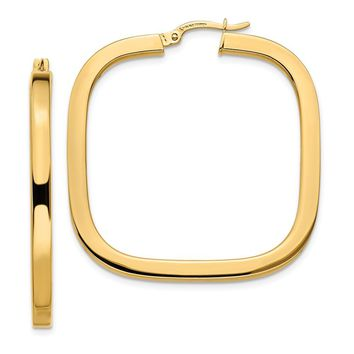 14k Yellow Gold Polish Square Tube Hoop Earrings