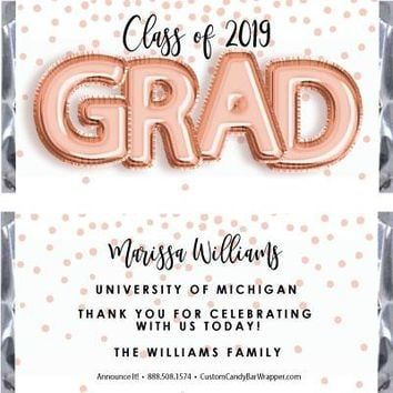 Foil Grad Graduation Candy Bar Wrappers