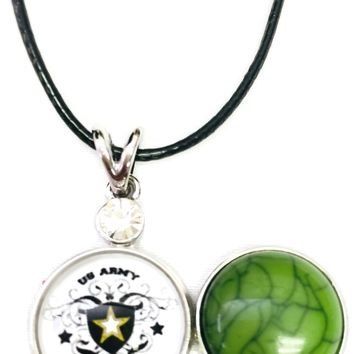 "Proud Army Wife Snap on 18"" Leather Rope Diamond Pendant Necklace W/ Extra 18MM - 20MM Snap Charm"