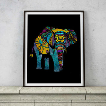 Elephant of Namibia Dark Version – 8 x 10 and 11 x 14 Multicolor Poster