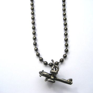 Gunmetal AIrplane Necklace , Ball Chain Necklace, Flight Jewelry , Airline Gift