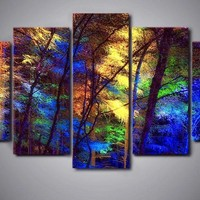 Tree lights 5 Panel Canvas Art Wall Swag