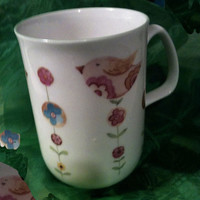 Rose of England Coffee Mug Little Wren and flower pattern Rare Vintage Bone China