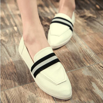Summer England Style Vintage Pointed Toe Patchwork Korean Stylish Casual Shoes [6366207812]