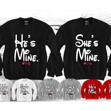 "He's Mine - She's Mine ""Cute Couples Matching Crewnecks"""