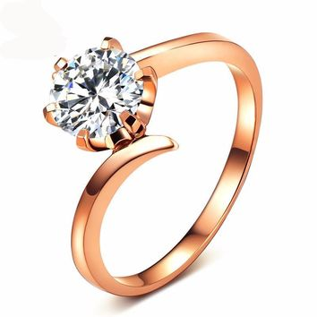 Moissanite Engagement Ring 1 Carat VVS D Color Diamond Ring For Women Solid 18K Au750 Rose Gold Free Engraving