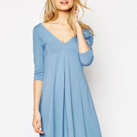 Deep V-Neck Solid Color Dress