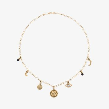 gold plated sterling silver Chakra pearl necklace