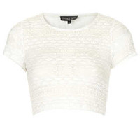 PETITEBobble Lace Crop Tee - Cream