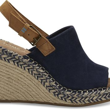 TOMS - Women's Monica Wedged Navy Suede Leather Sandals